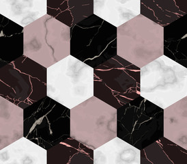Marble Luxury from Hexagon Shapes Seamless Pattern
