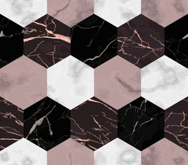 Marble Luxury Striped from Hexagons Seamless Pattern