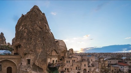 Wall Mural - Cappadocia cave with Cappadocia skyline day to night time lapse in Goreme, Turkey, timelapse 4K
