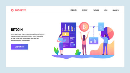Web site onboarding screens. Blockchain technology and bitcoin crypto currency. Menu vector banner template for website and mobile app development. Modern design linear art flat illustration.