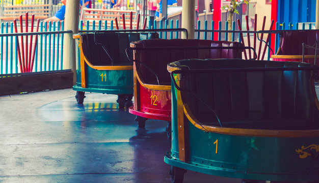 Carts Belonging to an Amusement Park Ride Called The Whip