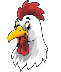 Cartoon happy rooster smiling