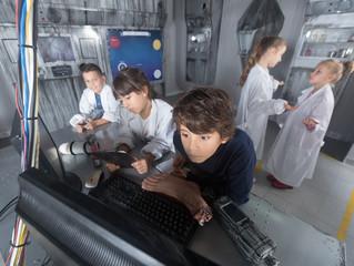five children solve task in the bunker quest room