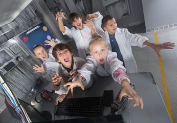 Children rest in the quest room game bunker