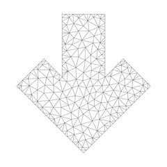 Mesh vector arrow down icon on a white background. Polygonal carcass gray arrow down image in lowpoly style with connected triangles, dots and linear items.