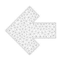 Mesh vector arrow left icon on a white background. Polygonal wireframe gray arrow left image in low poly style with connected triangles, nodes and lines.