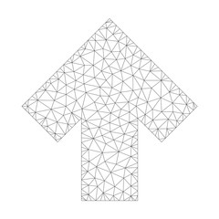 Mesh vector arrow up icon on a white background. Polygonal carcass gray arrow up image in low poly style with organized triangles, nodes and lines.