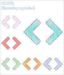Code sketchy symbol. Trending hand drawn symbol. Vibrant childish style code vector illustration.