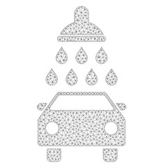 Mesh vector car shower icon on a white background. Polygonal carcass dark gray car shower image in lowpoly style with combined triangles, dots and lines.