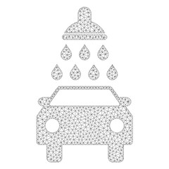 Mesh vector car wash icon on a white background. Polygonal wireframe grey car wash image in lowpoly style with combined triangles, points and linear items.