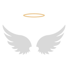 Halo and Angel Wings - Gold halo with set of two white angel wings