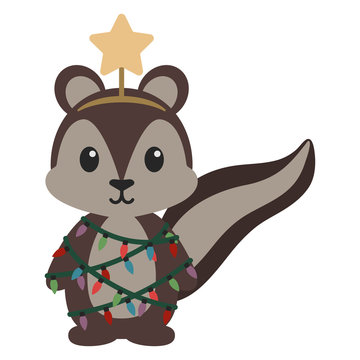 Squirrel in Christmas Tree Costume - Squirrel wearing star tree topper and Christmas string lights