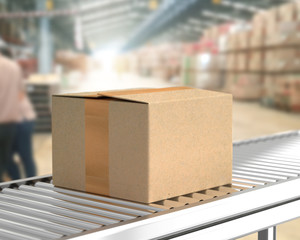 Box on conveyor roller in warehouse mock-up