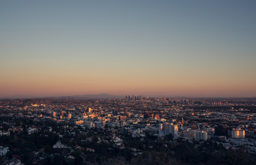 Summer sunset over city of Los Angeles in California.