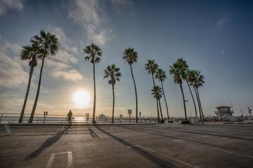 Sunset over Manhattan Beach pier in California
