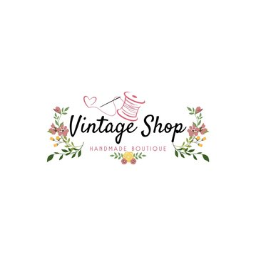 Tailor Sewing Vintage, Needle, Yarn, Fashion, Floral, Retro Logo , Sign, Icon Template Vectr Design