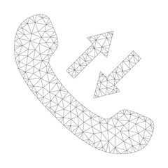 Mesh vector phone talking icon on a white background. Polygonal carcass grey phone talking image in lowpoly style with structured triangles, dots and lines.