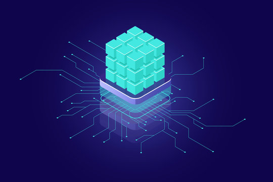 Artificial intelligence concept, ai isometric icon, big data, calculation, supercomputer concept, green blocks, database, data security encryption dark neon