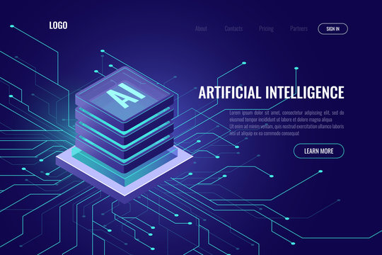 Artificial intelligence icon AI, isometric cloud computing concept, data mining, isometric, neural network, machine programming