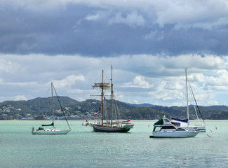 Sailing vessels in Russel Bay New Zealand