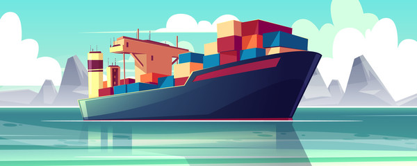 Vector illustration with a dry-cargo ship at sea, ocean. Commerce shipping, delivery of goods. Cartoon bulk-carrier on mountain background. Nautical boat, a marine vessel with metal containers.