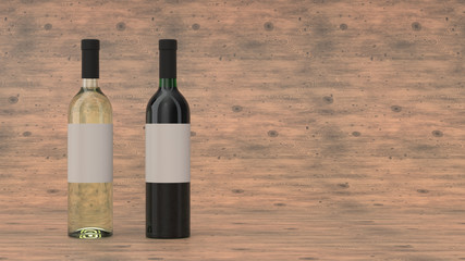 Mockup for two bottles of red and white wine