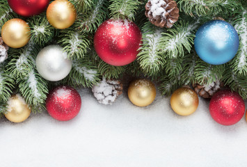 christmas decoration on on snow background with copy space