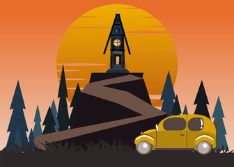 windmill spooky house on mountains vector illustration