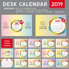 Desk calendar template for 2019 Year, Design calendar template, Week starts on Monday. spiral calendar, Vector Illustration