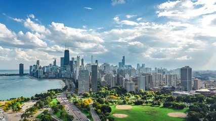 Wall Murals Central America Country Chicago skyline aerial drone view from above, lake Michigan and city of Chicago downtown skyscrapers cityscape from Lincoln park, Illinois, USA