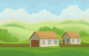 Summer rural landscape with village houses and fence, meadow with green grass, agriculture and farming vector Illustration on a white background