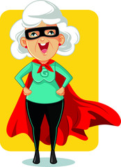 Super Granny Cartoon Vector Illustration