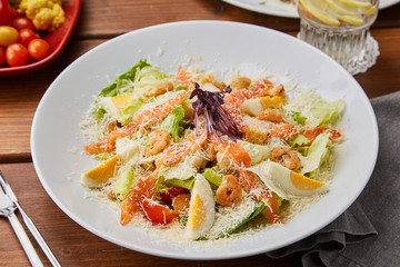 Seafood Salad with Cheese. Salmon Salad with Shrimps.