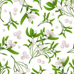 Seamless Pattern with Mistletoe Branch