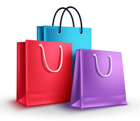 Colorful shopping bags vector illustration. Group of empty paper bags with different colors isolated in white for shopping design elements.