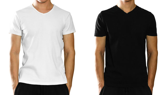 A man in an empty clean white and black t-shirt. Front view. Isolated on white background