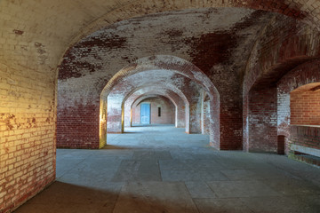 Foto auf Leinwand Befestigung Interiors of Fort Point National Historic Site. Fort Point is a masonry seacoast fortification located at the southern side of the Golden Gate at the entrance to San Francisco Bay.