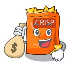 With money bag snack food sticks chisp on cartoon