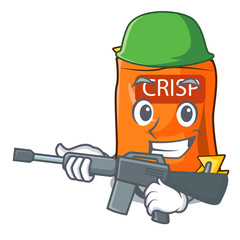 Army snack food sticks chisp on cartoon