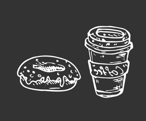Hand drawn coffee and donut doodle. Sketch food and drink, icon. Decoration element. Isolated on black background. Vector illustration