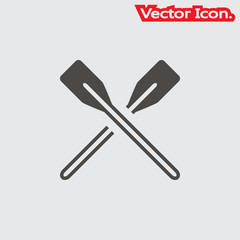 boat oars icon isolated sign symbol and flat style for app, web and digital design. Vector illustration.