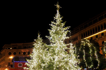 Thessaloniki, Greece Christmas 2018 decorations at Aristotelous square. Night view of the main illuminated tree at the central city square.