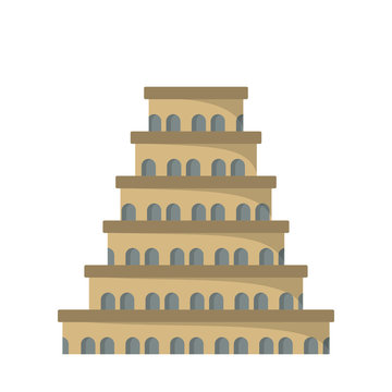 Flat icon of the tower of Babel.