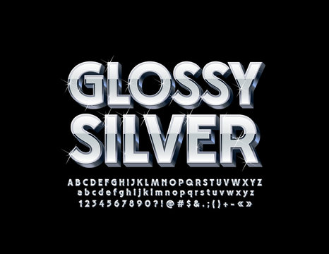 Silver Glossy 3D Font with sparkling Stars. Vector set of stylish Alphabet Letters, Numbers and Symbols.