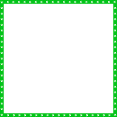 Vector green and white square frame made of animal paw prints copy space