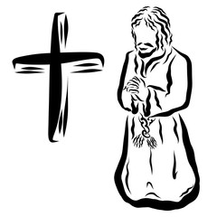 Man praying to God, and the cross, old times