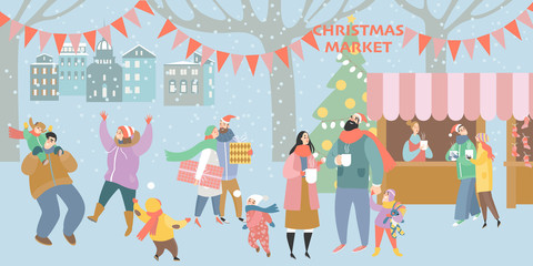 Illustration of a Christmas market with happy people drinking mulled wine and having a rest with family