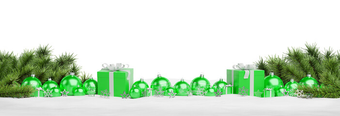 Green christmas gifts and baubles isolated 3D rendering
