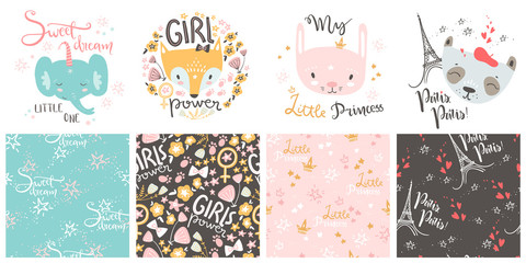 Cute baby animals and seamless patterns. Hand drawn vector illus