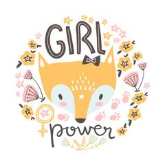 Cute baby girl fox. Hand drawn vector illustration. For kid's or baby's shirt design, fashion print design, graphic, t-shirt,kids wear.